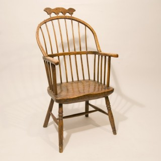 An Early 19th Century Ash Comb / Hoop Back Primitive Windsor Armchair