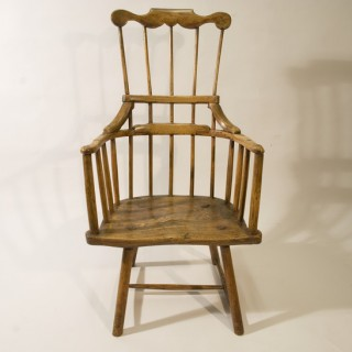 A Late 18th Century Sycamore and Ash Primitive Windsor Chair