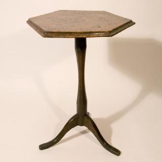 An Early 19th Century Burr Elm Primitive Tripod Table