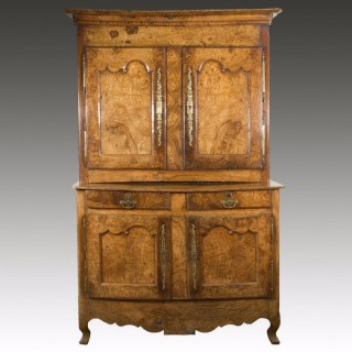 A Late 18th Century French Provincial Burr Elm Deux Corps