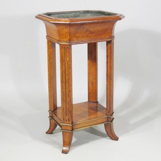 A Regency Period Amboyna Jardiniere Stand with Tole Liner