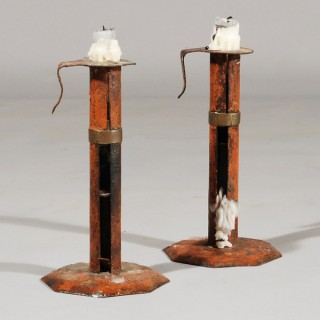 A pair of 18th Century Wedding Band Toleware Candlesticks