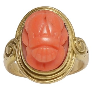 Attractive Late Victorian Carved Coral Gold Scarab Ring