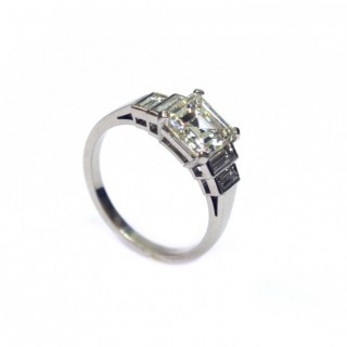 Platinum set 1.75 carat Asscher cut Diamond Ring
