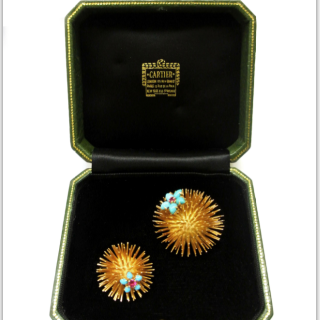 pair of Cartier Paris 18 carat gold sea urchin brooches
