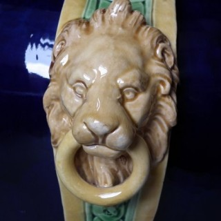 Minton Majolica jardiniere with lions masks and paw feet
