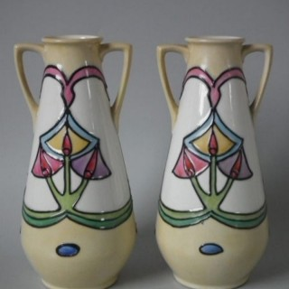 Pair Minton Secessionist No.12 two handled vases