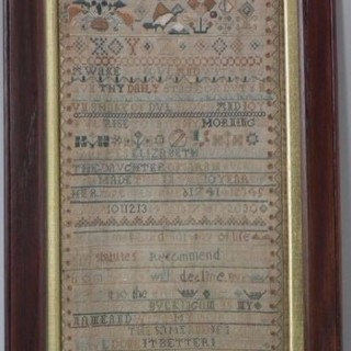 Antique Sampler, 1741 Band Sampler by Elizabeth Buckingam