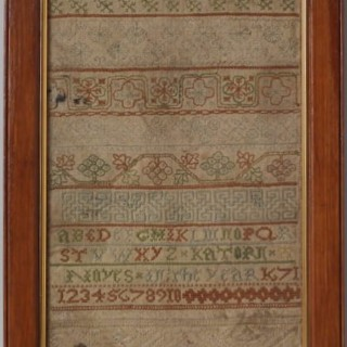 Antique Sampler, 1671 Band Sampler by Katorn Noyes