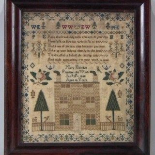 Antique Sampler, 1840 Scottish - House Sampler by Mary Eldridge