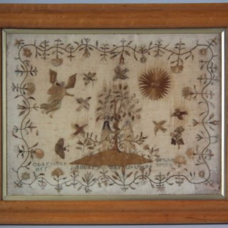 Antique Sampler, 1796 Hair & Silkwork Sampler by Charlotte White