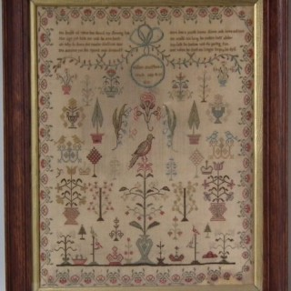 Antique Sampler, 1802 Verse Sampler by Hellen Bradshaw