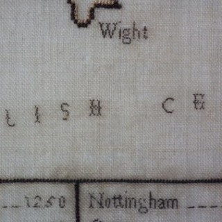 Antique Sampler, C.1800 Sq. mileage Map sampler by Ann Prosser