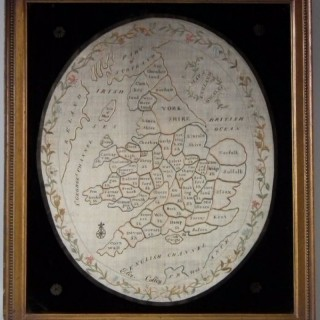 Antique Sampler, 1801 Map of England & Wales Sampler by Elizabeth Colley