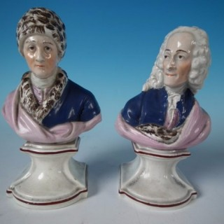 Pair Staffordshire Pearlware Voltaire & Rousseau busts
