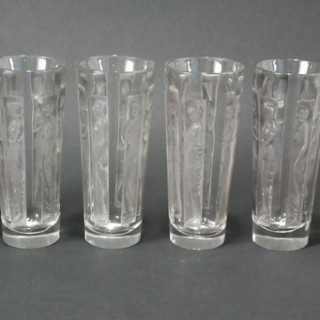 René Lalique Clear with grey staining Glass 'Six Figurines' Shot glasses
