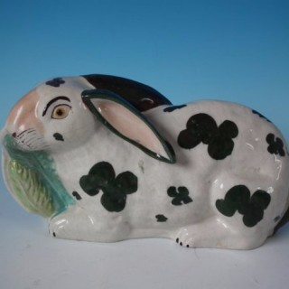 Staffordshire Pottery Rabbit eating lettuce