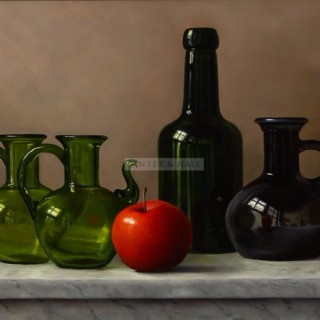 One Red Apple and Glass by Johan de Fre