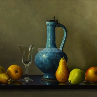 Ripening Pears and a Blue Jug by Johan de Fre