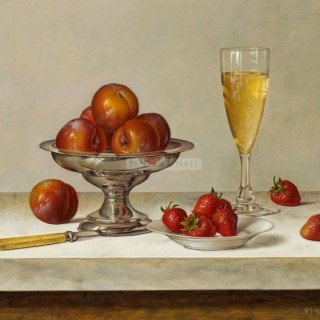 Plums in a Silver Dish