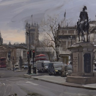 Whitehall, early afternoon, April by Tom Hughes (British contemporary)