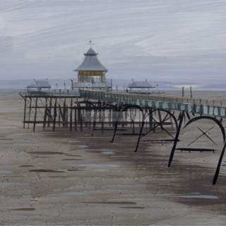 Clevedon Pier, late afternoon, April by Tom Hughes (British contemporary)