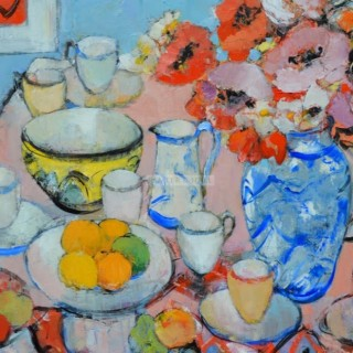 Still life with Red and Pink Poppies and Yellow and Black Bowl by Peter McLaren (Scottish contemporary)