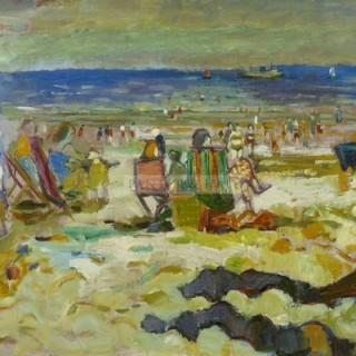 A day at the beach by Edwin La Dell ARA (1914-1970)