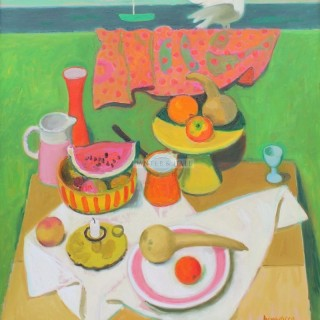 Still Life with Dove by Alberto Morrocco OBE RSA RP RSW RGI (1917-1998)