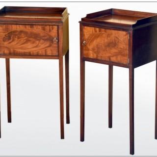A fine pair of Scottish Sheraton period mahogany bedside cabinets