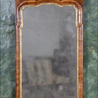 A rare Queen Anne period walnut pier mirror