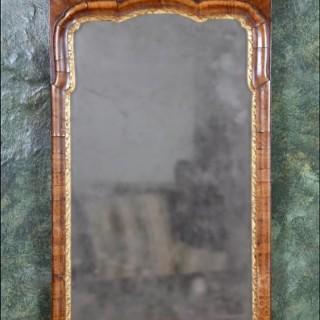 A rare Queen Anne period walnut pier mirror
