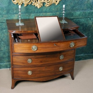 A fine George III mahogany Gentleman's dressing commode chest