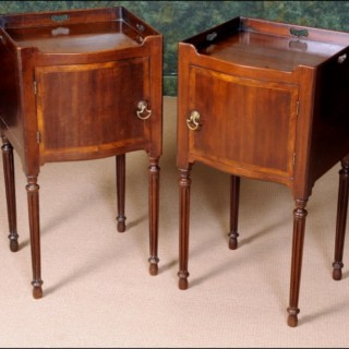 A fine Chippendale period mahogany serpentine front bedside cupboard