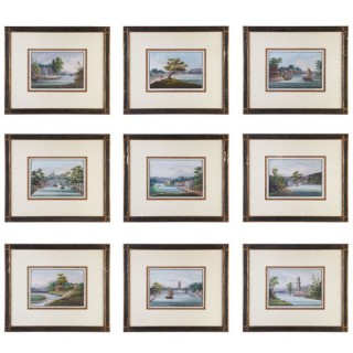 A GROUP OF 9 CHINESE EXPORT GOUACHE PAINTINGS