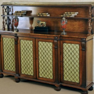 Early Regency period rosewood breakfront cabinet or chiffonier
