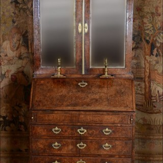 A fine George I burr walnut bureau bookcase