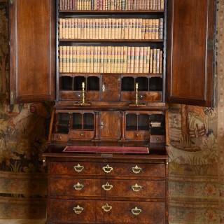A fine George I burr walnut bureau bookcase