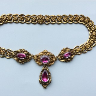 Pink Topaz Victorian Gold Necklace