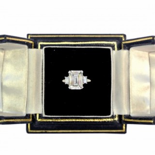 A wonderful 4.14 carat emerald cut diamond ring