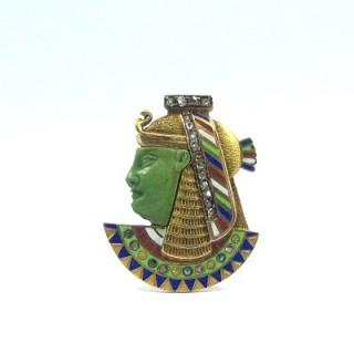 A rare Austro-Hungarian Egyptian Revival cloisonne enamel & diamond 'Pharaoh' brooch pin