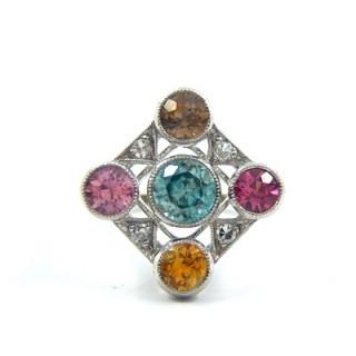 A stunning Edwardian blue zircon & sapphire diamond ring