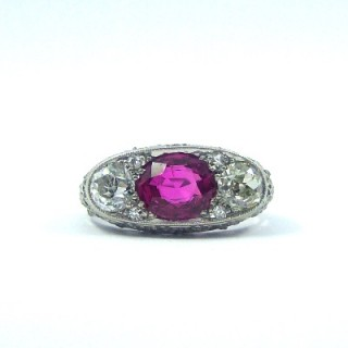 A beautiful Belle Epoque ruby and diamond three stone ring