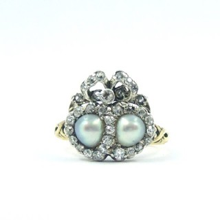 A stunning Victorian natural pearl & diamond ring
