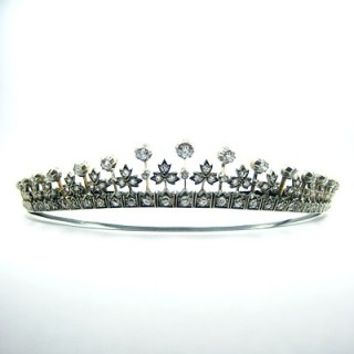 A rare Victorian diamond tiara necklace