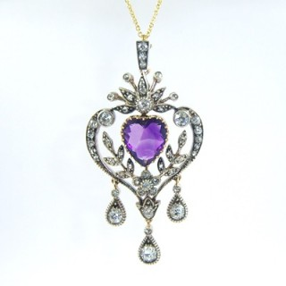 A Victorian amethyst and diamond brooch & pendant necklace