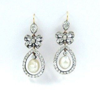 An important pair of Georgian natural saltwater pearl & diamond 'night and day' chandelier drop earrings