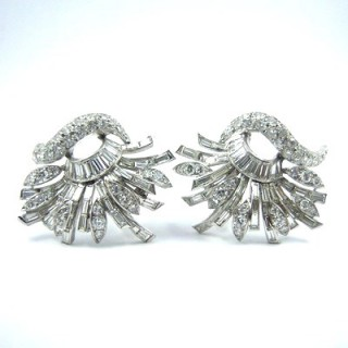 An impressive pair of vintage diamond spray cluster earrings