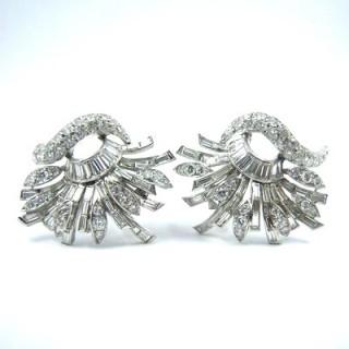 An impressive pair of vintage diamond spray cluster earrings