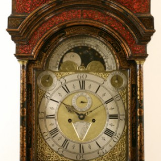 JAPANNED CHINOISERIE LACQUER LONGCASE CLOCK